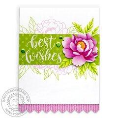 Sunny Studio Pink Peonies Spring Card by Mendi Yoshikawa