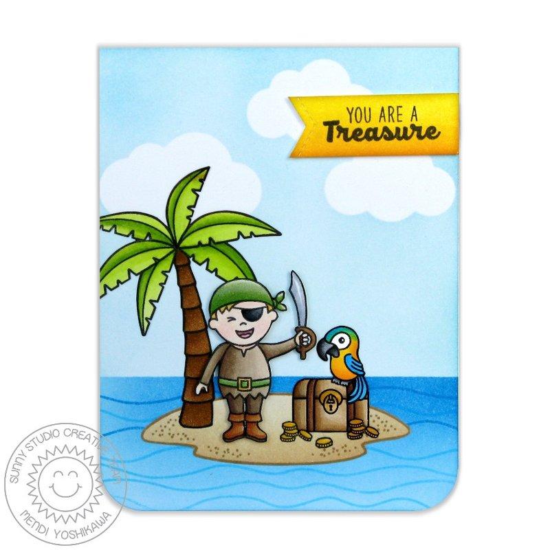Sunny Studio Pirate Pals Card by Mendi Yoshikawa