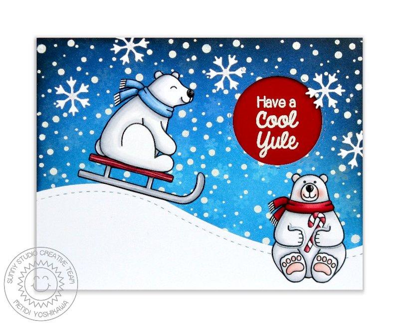 Sunny Studio Playful Polar Bears Card by Mendi Yoshikawa