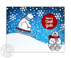 Sunny Studio Playful Polar Bears Card by Mendi Yoshikawa