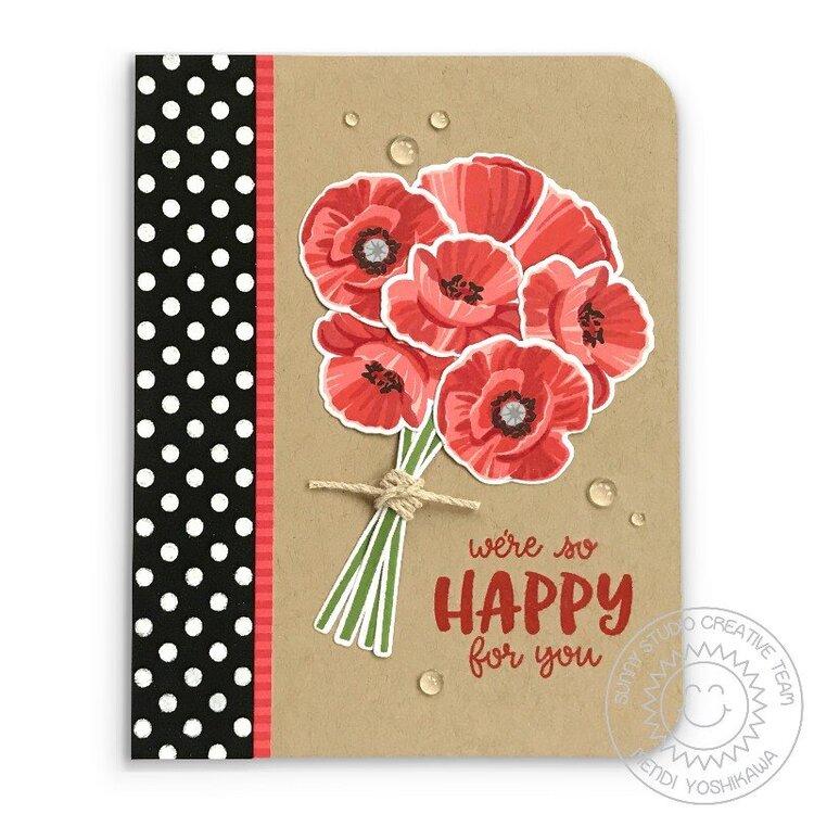 Sunny Studio Poppy Fields Card by Mendi Yoshikawa