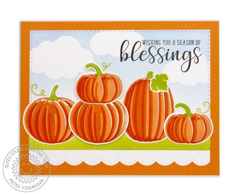 Sunny Studio Pretty Pumpkins Card by Mendi Yoshikawa