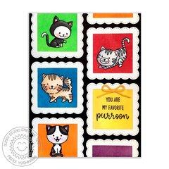 Sunny Studio Purrfect Birthday Cat Card by Mendi Yoshikawa