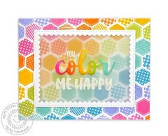 Sunny Studio Color Me Happy Rainbow Card by Mendi Yoshikawa