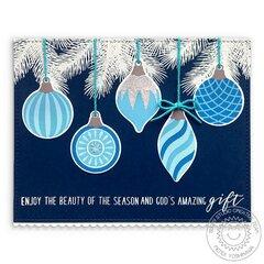 Sunny Studio Retro Ornaments Christmas Card by Mendi Yoshikawa