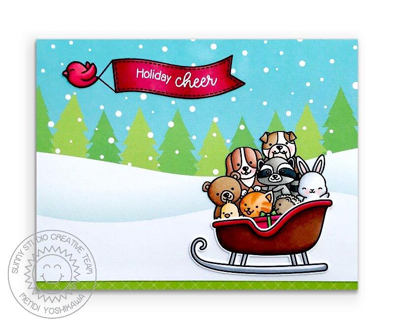 Sunny Studio Santa Claus Lane Christmas Card by Mendi Yoshikawa