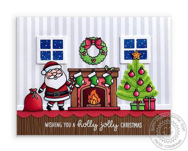 Sunny Studio Santa Claus Lane Christmas Card by Mendi Yoshikawa