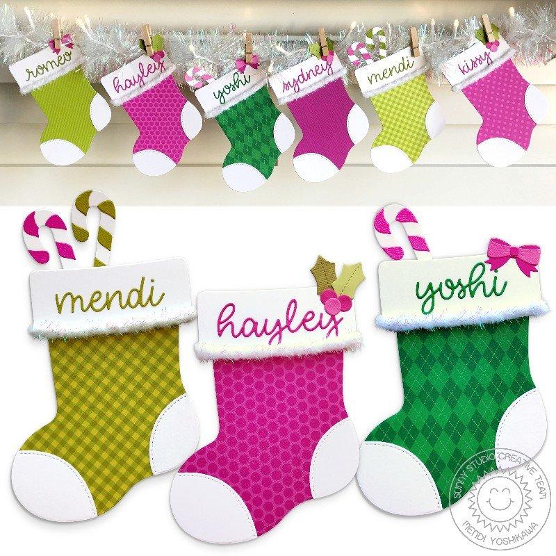 Sunny Studio Stamps Santa's Stocking Christmas Card by Mendi Yoshikawa