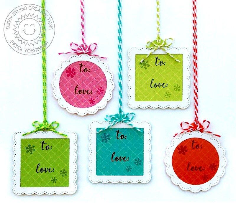 Sunny Studio Mini Christmas Gift Tags set by Mendi Yoshikawa