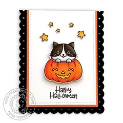 Sunny Studio Scaredy Cat Halloween Card by Mendi Yoshikawa