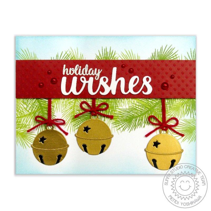Sunny Studio Silver Bells Christmas Card by Mendi Yoshikawa