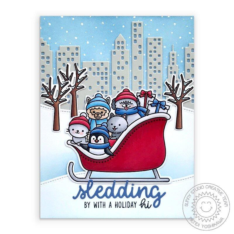 Sunny Studio Sledding Critters Christmas Card by Mendi Yoshikawa