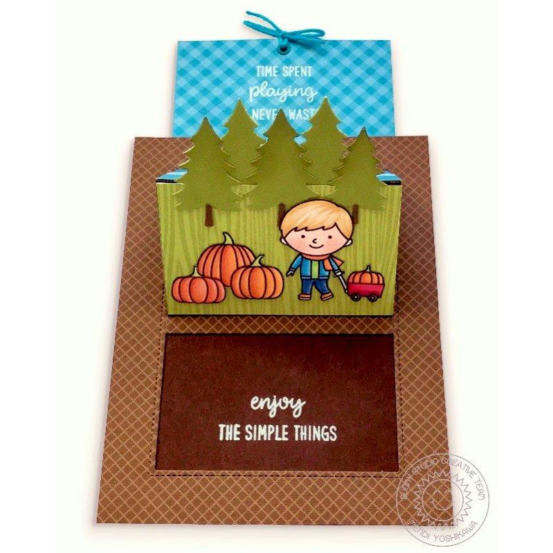 Sunny Studio Pumpkin Patch Sliding Window Pop-up Card by Mendi Yoshikawa