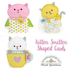 Doodlebug Kitten Smitten Shaped Cards by Mendi Yoshikawa