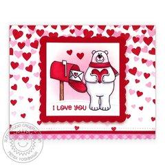 Sunny Studio Valentine's Day Snail Mail Card by Mendi Yoshikawa