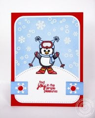 Sunny Studio Snow Kissed Penguin card by Mendi Yoshikawa
