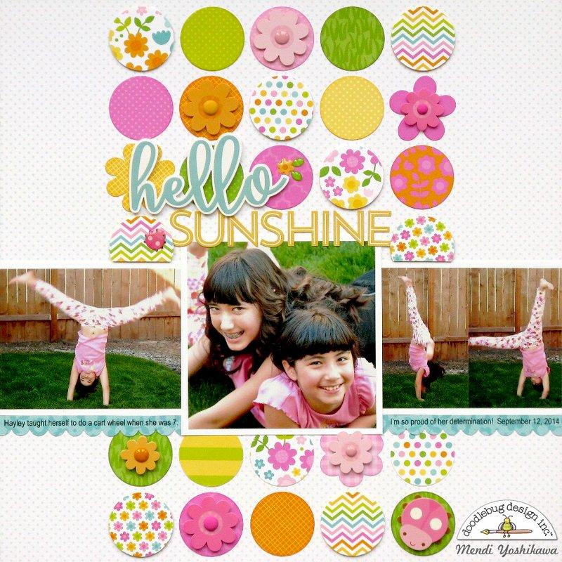 Doodlebug Hello Spring Garden Layout by Mendi Yoshikawa