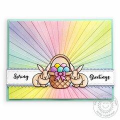 Sunny Studio Spring Greetings Bunny Card by Mendi Yoshikawa