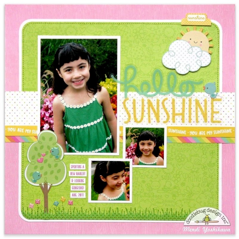Doodlebug Spring Things Sunshine Layout by Mendi Yoshikawa