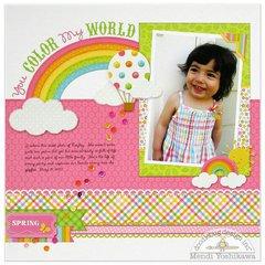 Doodlebug Springtime Rainbow Layout by Mendi Yoshikawa
