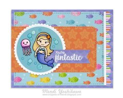 Sunny Studio Magical Mermaids Fintastic Card by Mendi Yoshikawa