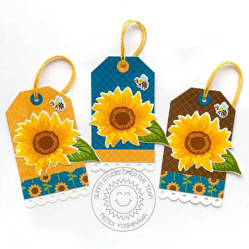 Sunny Studio Stamps Sunflower Fields Tags by Mendi Yoshikawa