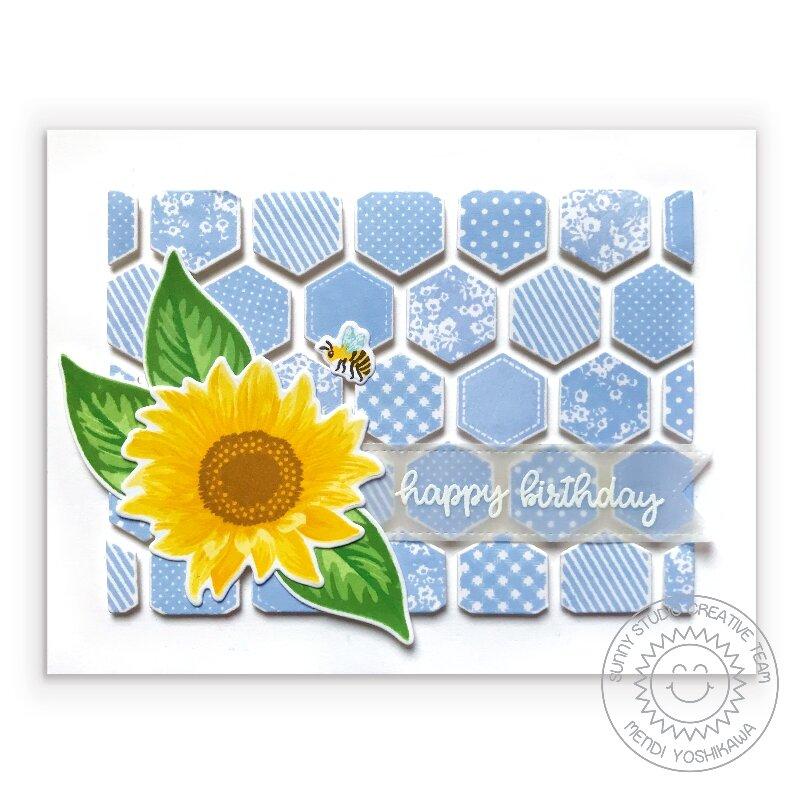 Sunny Studio Stamps Sunflower Fields Card by Mendi Yoshikawa