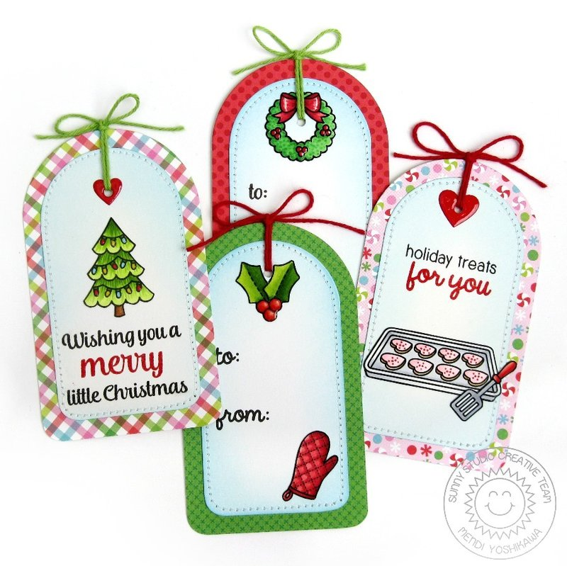 Sunny Studio Sunny Semi Circles Holiday Gift Tags by Mendi