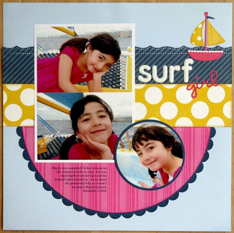 An Echo Park Dots & Stripes Sailing Layout by Mendi Yoshikawa