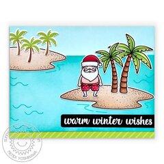 Sunny Studio Surfing Santa Christmas Card by Mendi Yoshikawa