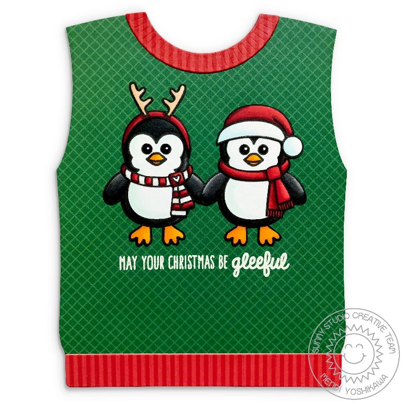 Sunny Studio Stamps Sweater Vest Christmas Card by Mendi Yoshikawa