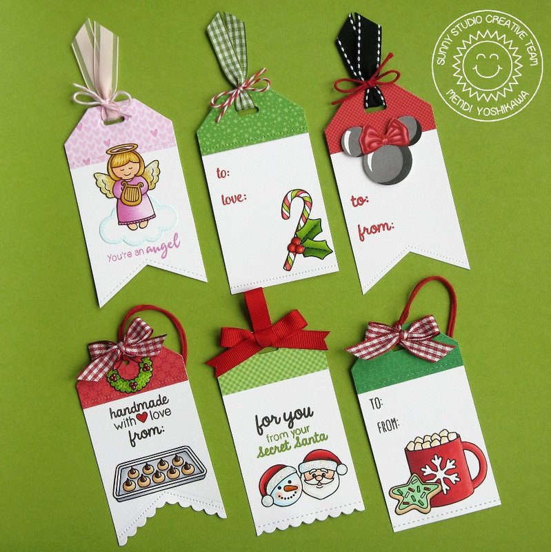 Sunny Studio Traditional Tag Toppers Holiday Tags by Mendi