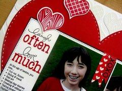 Technique Tuesday Valentine's layout by Mendi Yoshikawa