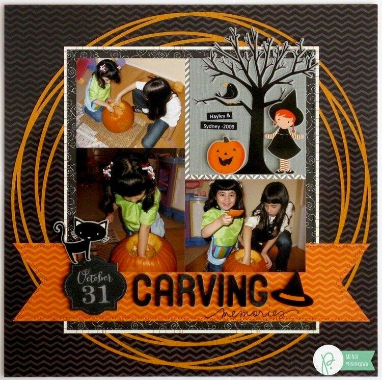 A Pebbles Thirty-One Halloween Layout by Mendi Yoshikawa