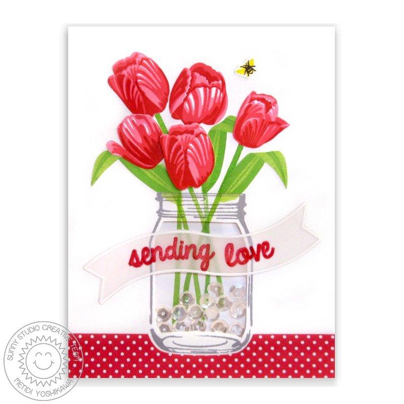 Sunny Studio Timeless Tulips Card by Mendi Yoshikawa