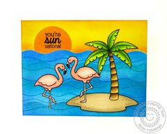 Sunny Studio Tropical Paradise Flamingo Card by Mendi Yoshikawa