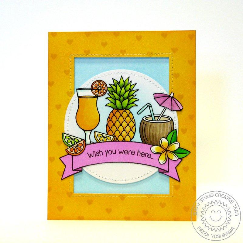Sunny Studio Tropical Paradise Fruity Drink Card by Mendi Yoshikawa