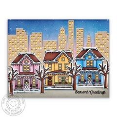 Sunny Studio Victorian Christmas House Card by Mendi Yoshikawa