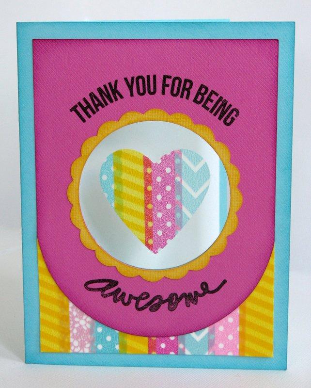 Diecut Washi Tape Heart Window Card by Mendi Yoshikawa