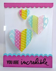 Transparency Card with Washi Tape Hearts by Mendi Yoshikawa