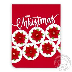 Sunny Studio Poinsettia Christmas Card by Mendi Yoshikawa