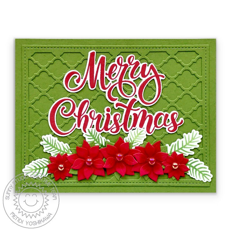 Sunny Studio Poinsettia Quatrefoil Christmas Card by Mendi Yoshikawa