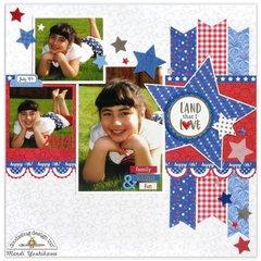 Doodlebug Yankee Doodle Scrapbook Layout by Mendi Yoshikawa