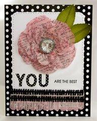 A Spellbinders Tissue Paper Rose Card by Mendi Yoshikawa