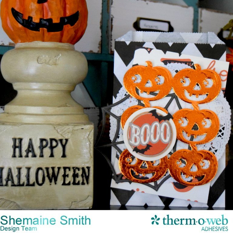 Deco Foil Halloween Embellished Favor Treat Bag with Pumpkins
