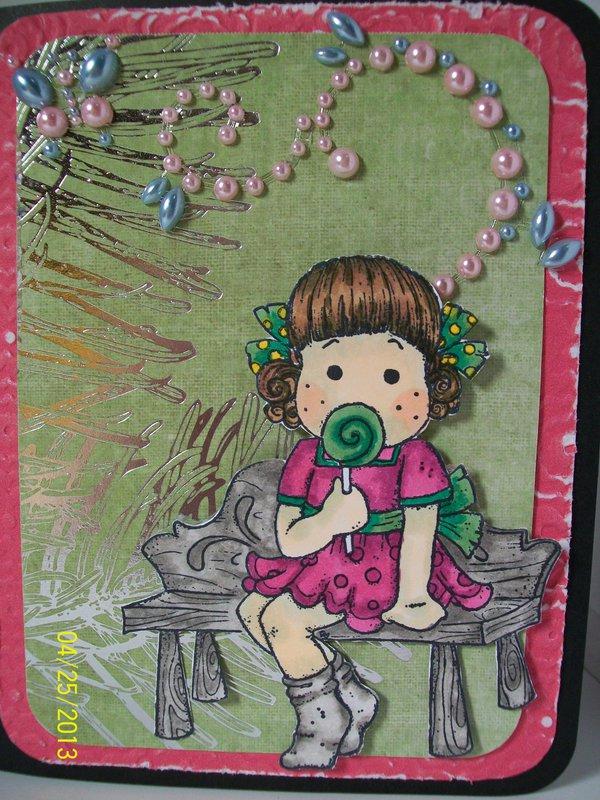 Tilda with lollipop Birthday card