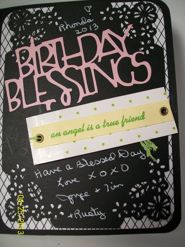 Birthday Blessings, inside right of card