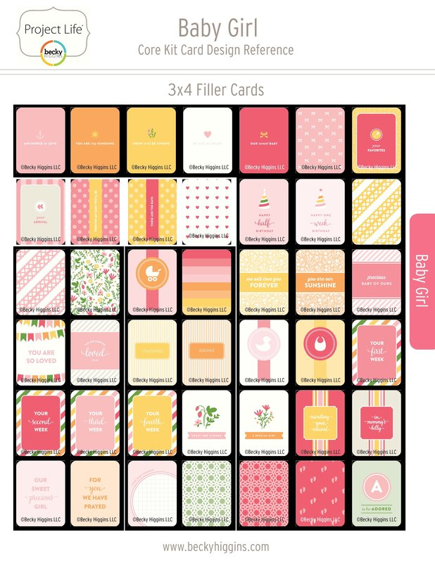 Project Life Baby Girl Core Kit Card Reference