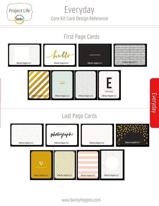 Project Life Everyday Core Kit Card Reference