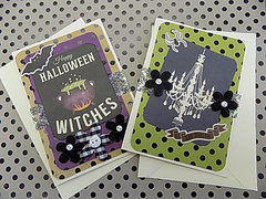 2 Halloween Cards - Happy Halloween Witches!